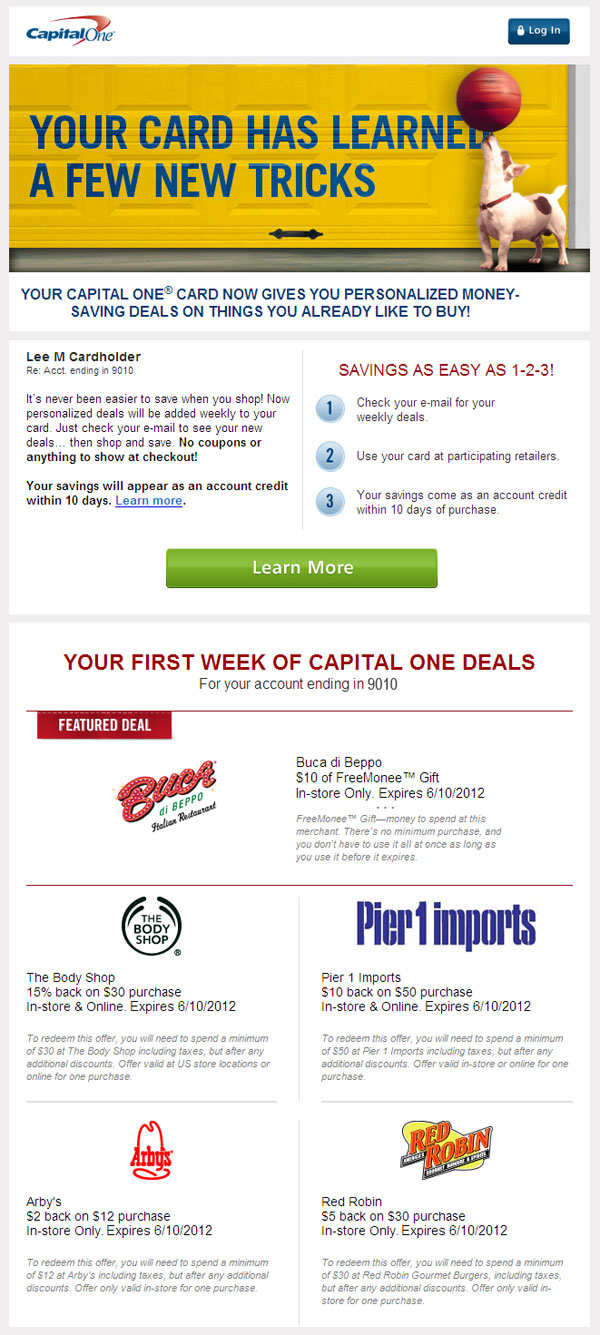capital one daily deals e-mail