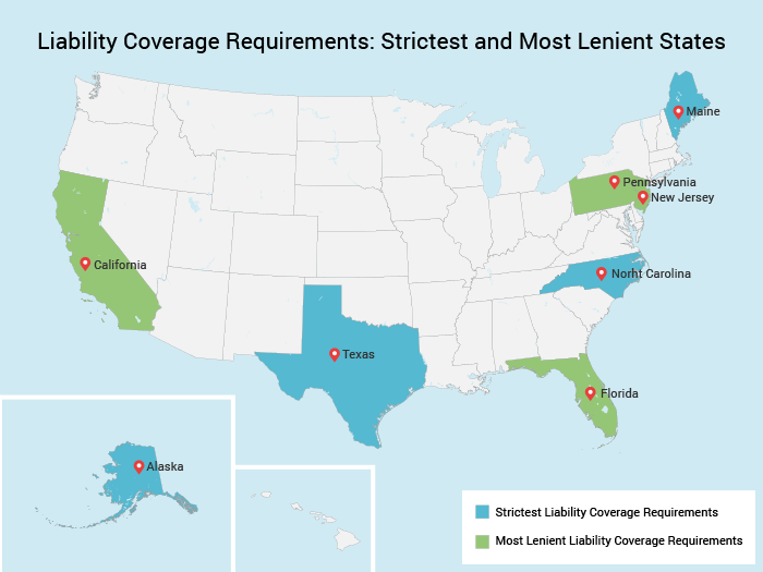Lenient States for Car Insurance Coverage Map 01