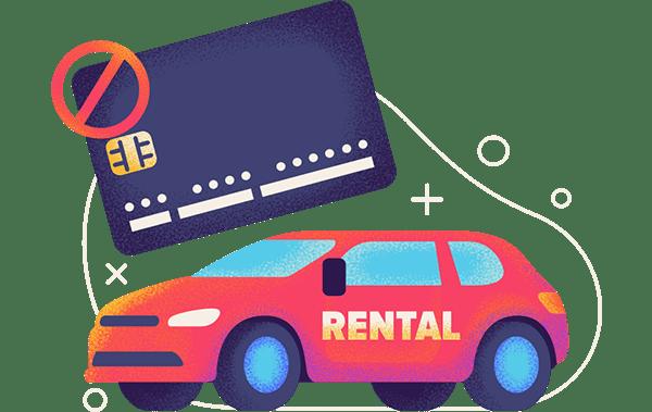 car rental without credit card hero